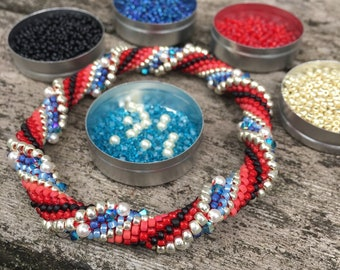 The Patriot Slip Stitch Bead Crochet Bracelet Kit