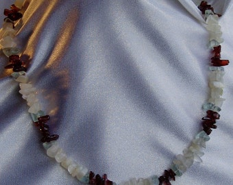 Garnet, moonstone and blue green obsidian necklace