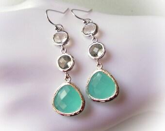 Mint earrings, silver earrings, aqua, grey, gray, clear, dangle earrings, modern jewelry, seafoam green, sea foam blue, wedding earrings