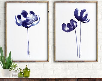 Abstract Flower Watercolor Painting Set Of 2 Prints Flowers Sapphire Blue Minimalist Painting Navy Blue floral Botanical Art Wall art
