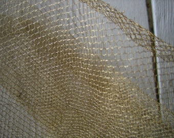 19 inches by 16 inches Antique Gold Metallic Mesh Repurposed from 1920s Flapper Dress (Ref: A-2674 Box 1)