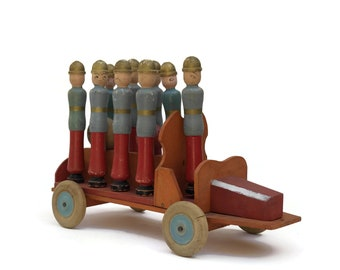 Antique Bowling Pins Firefighter Toy. Hand Painted French Fire Truck and Fireman Wooden Skittles. Nursery and Boys Room Decor. Gifts For Him