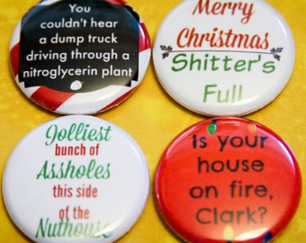 "Christmas Vacation Pack 2 - Set of 4 - 1"" Pin Back or Magnet Back Buttons"