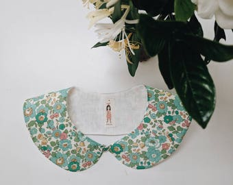 LIBERTY PETER PAN style Collar Liberty Art Fabric Collar Peter pan Collar Betsy D (green) Children and Women's sizes