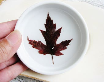 Burgandy Red Ring Dish, Fall Ring Dish, Maple Leaf Ring Dish, Botanical Gift, Floral Dish, Pressed Leaf Dish