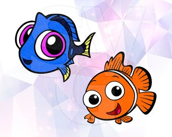 Finding Dory Nemo Layered SVG DXF Png Cut File Disney Cartoon Party Decorations Cricut Designs Silhouette Studio Cameo Stencil Scrapbooking