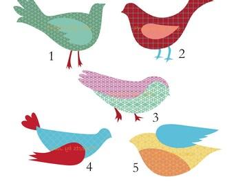5 Birds applique template | PDF applique pattern | applique template