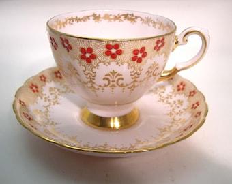 Rare Tuscan Tea Cup and Saucer, Pink and Gold  tea cup and saucer set, Fine English Bone China.