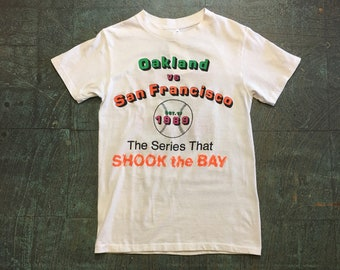 Vintage Oakland vs San Francisco 1989 Baseball Series tee t-shirt // size M medium 38-40 // Bay Area history  collectors item Souvenir