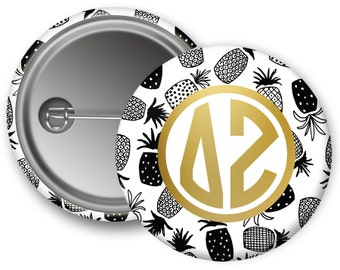 "DZ Delta Zeta Faux Gold Foil Pineapple Single or Bulk 2.25"" Pinback Button"