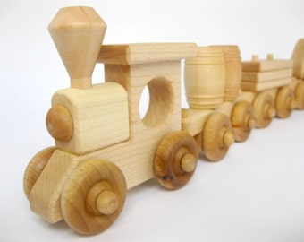 Wood Toy Train Set 5 Cars, natural wooden toy