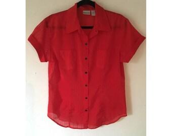 Sheer Blouse/ Striped Blouse/ Red Blouse/ Short Sleeve Blouse