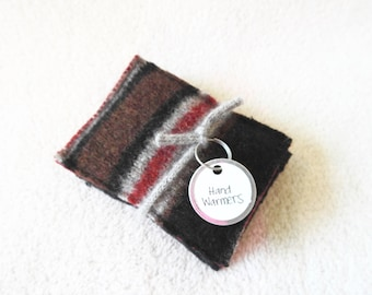 Pocket Hand Warmers BLACK & RED Reusable Felted Sweater Wool Handwarmers Rice Bags Ecofriendly Teacher Coworker Kids Gift by WormeWoole