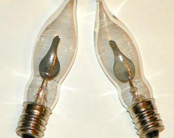 6 Flicker Bulbs, Clear Glass Flame Shaped Glass Bulb with Orange Flame