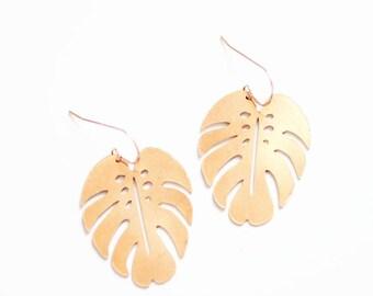 Monstera Leaf Earrings | Brass Earrings | 14k Gold Fill Earrings | Sterling Silver Earrings | Palm Leaf Earrings