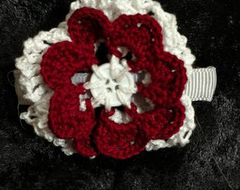 Crochet Button Flower on Barrette