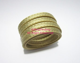 Leather cord 6x2mm gold leather cord Stitched 6mm Flat leather cord