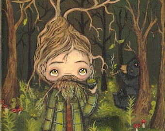 Tree Man Print---Forest Pipe Smoking Treeman And Bear Whimsical Wall Art