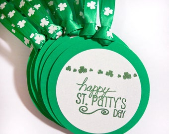 Happy St. Patty's Day Champagne tag set 10 Shamrock Handmade decoration gift bottle tag