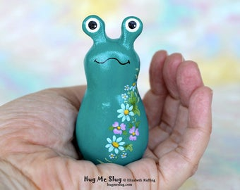 Handmade Slug Figurine, Miniature Sculpture, Teal, Pink, Blue Floral, Hug Me Slug, Animal Totem Charm Figure with Flowers, Personalized Tag