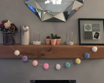 Easter Pom Pom Bunting Garland for decoation party kids room pastle shades