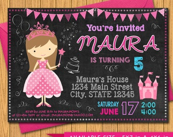 Princess Invitation - Pink and Purple, Royal Princess Castle Personalized Birthday Party Invite, Chalkboard - a Digital Printable File