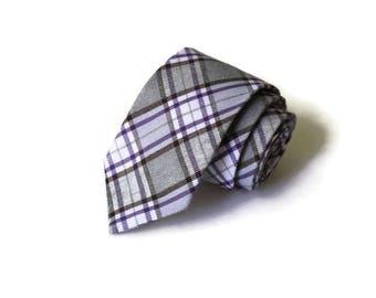 Necktie~Plaid Necktie~Anniversary Gift~Wedding Tie~Mens Gift~Boys Necktie~Mens Necktie~Wedding~HoBo Ties~Mens Tie~Boys Tie~Gray Purple Tie