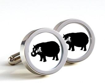 Hippos on your cufflinks -  Mens Cufflinks, Husband, Wedding gift, Novelty cufflinks, hippopotamus for him