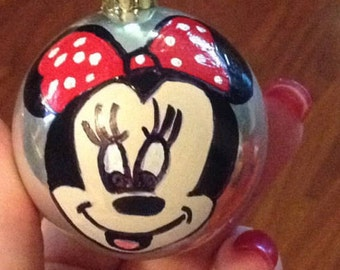 Handpainted Minnie Mouse Personalized Ornament