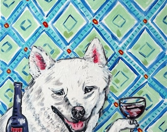 25% off SHIBA inu dog Art Print   JSCHMETZ abstract american modern pop art folk abstract wine