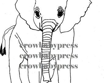 Elephant drawing, Elephant clip art, Proceeds to Elephant Charity, Save the Elephants, two elephant designs, digital files, png