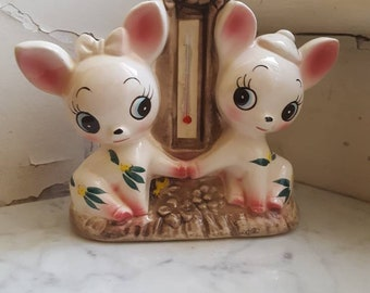 Vintage kitsch very rare japan ceramic deers bambi vase pair 60's so cute