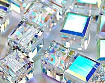 4p 5601 8mm Swarovski CRYSTAL AB Cube Beads Cubes Loose Beads for Jewelry making Cubes