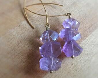 Amethyst Earrings - Purple Gemstone Jewelry - Statement - Gold - Modern Jewellery - Fashion