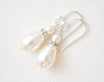 Pearl Teardrop Earrings, Ivory Pearl Earrings, Wedding Earrings, Bridal Earrings