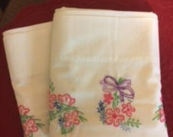 Pillow Cases (2) Embroidered Hand Worked Vintage