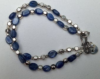 Blue kyanite and sterling silver double-strand bracelet