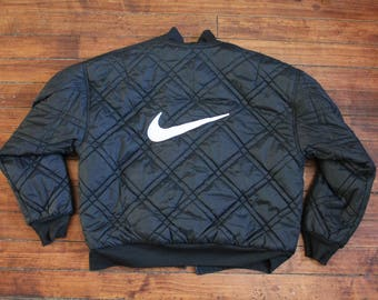 Nike Winter jacket Reversible coat quilted vintage mens Large black