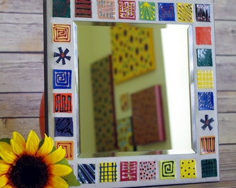Mirror, Mosaic Mirror, Wall Art, Whimsical, Handmade, One of a Kind, Colorful, Wall Decoration