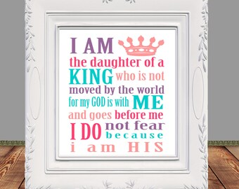 Daughter of the King, Inspirational quote printable, Scripture printable, Nursery Printable, Printable