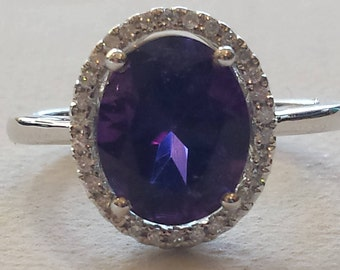 18K white gold amethyst and halo diamond ring