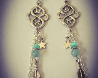 Earrings color silver and turquoise