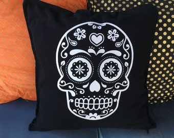 Sugar Skull Halloween Pillow Cover