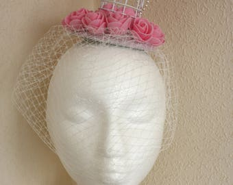 Cage Fascinator Headdress Headpiece Birdcage Pink Roses Dove Pearls  Fantasy Wedding Veil