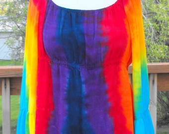 Tie Dye Rainbow Women's Peasant Top with Tier Sleeves