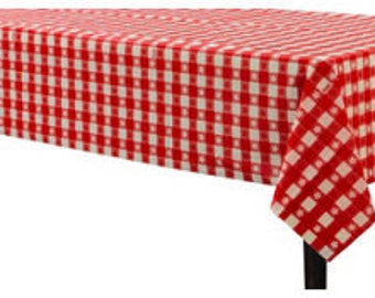 Strong Reusable Extra Long 54  X 108 Inch Plastic Table Cover - Red Gingham Check Picnic Print Tablecoth