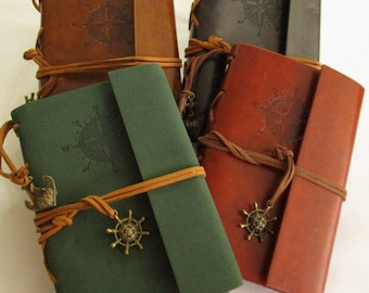 Leather diary, Pirate Book, Windrose, Leather notebook, pirate Notebook