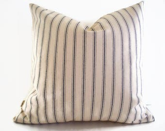 Blue Ticking Pillow Cover, Farmhouse Pillow Ballard Designs Pillow Vintage Ticking Pillow 0