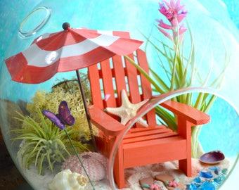 """Beach Terrarium Kit ~ 8"""" Air Plant Terrarium Kit ~ Coastal Living Beach Decor ~ Beach Umbrella Choice ~ Adirondack Chair ~ Day at the Beach"""