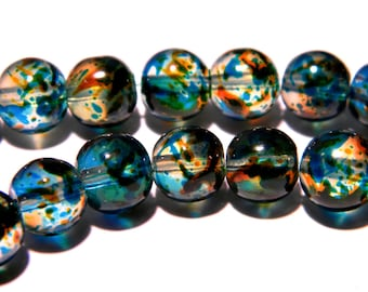 20 beads-glass - 8 mm translucent 2 tones - blue and orange-PG143-4
